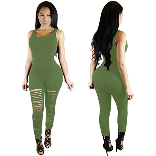 c2d8cd39b42 Amazon.com  Bravetoshop Sexy Lace Tight Jumpsuits Hollow Solid Tank Tops  Playsuits  Clothing