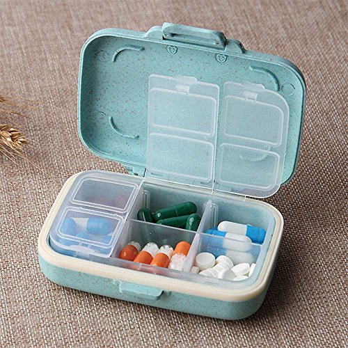 Small Pill Organizer-6 Day Portable Pill Case for Purse BPA Free Food Grade Hard Plastic Material 6-Compartment-Light Blue By Yuan She by Yuan She