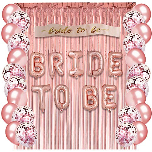 Rose Gold Bachelorette Party Supplies - Bridal Shower Decorations Rose Gold Balloons, Confetti Balloons & Foil Balloon - Bachelorette Party Favors Bride-to-Be Sash, Foil Curtain & Balloon ()