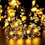 ADDLON 23ft Solar String Lights 50 LED Waterproof Decorative Lights 8 Work Modes Blossom Fairy Lights for Outdoor Garden Home Wedding Christmas Holiday Party (Warm White)