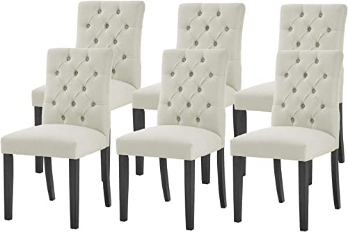 Modern Upholstered Dining Chair Set of 6 Button-Tufted Dining Room Chair Modern Tufted Parsons Chair