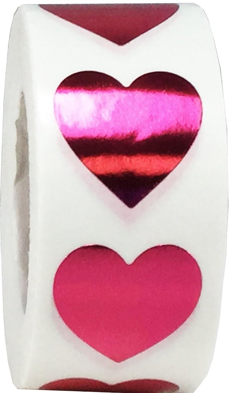 19 mm 3//4 Pollici di Larghezza 500 Etichette su Rotolo Bianco Cuore Adesivi