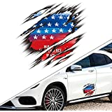1797 Vehicle Stickers Car Decals USA America Flag Stars and Stripes 3D Accessories Decorations Emblem Sign Animal Door Bumper Laptop Windows Windshield Trunk Tailgate PET Waterproof Reflective Funny