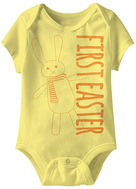 db700c3ac945 Amazon.com  A E Designs Bunny First Easter Funny Romper Infant Yellow Baby  Creeper  Clothing