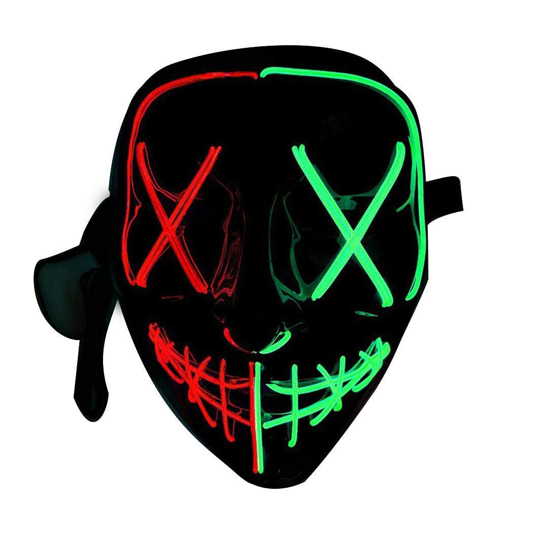 Berill Luminous Masks LED Glow in Dark Halloween Party Glowing Mask Cosplay Props Decorative Masks by Berill