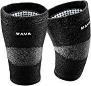 Mava Sports Reflexology Knee Support Sleeves (Pair) for Joint Pain and Arthritis Relief, Improved Circulation