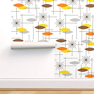 Spoonflower Peel and Stick Removable Wallpaper, Mid Century Modern Starburst Orange Brown Black Mod Decor Yellow Cool Cocoa Print, Self-Adhesive Wallpaper 24in x 36in Roll