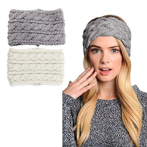 2 pack Womens Winter Knit Headband & Hairband Headwrap Hat Cap Ear Warmer