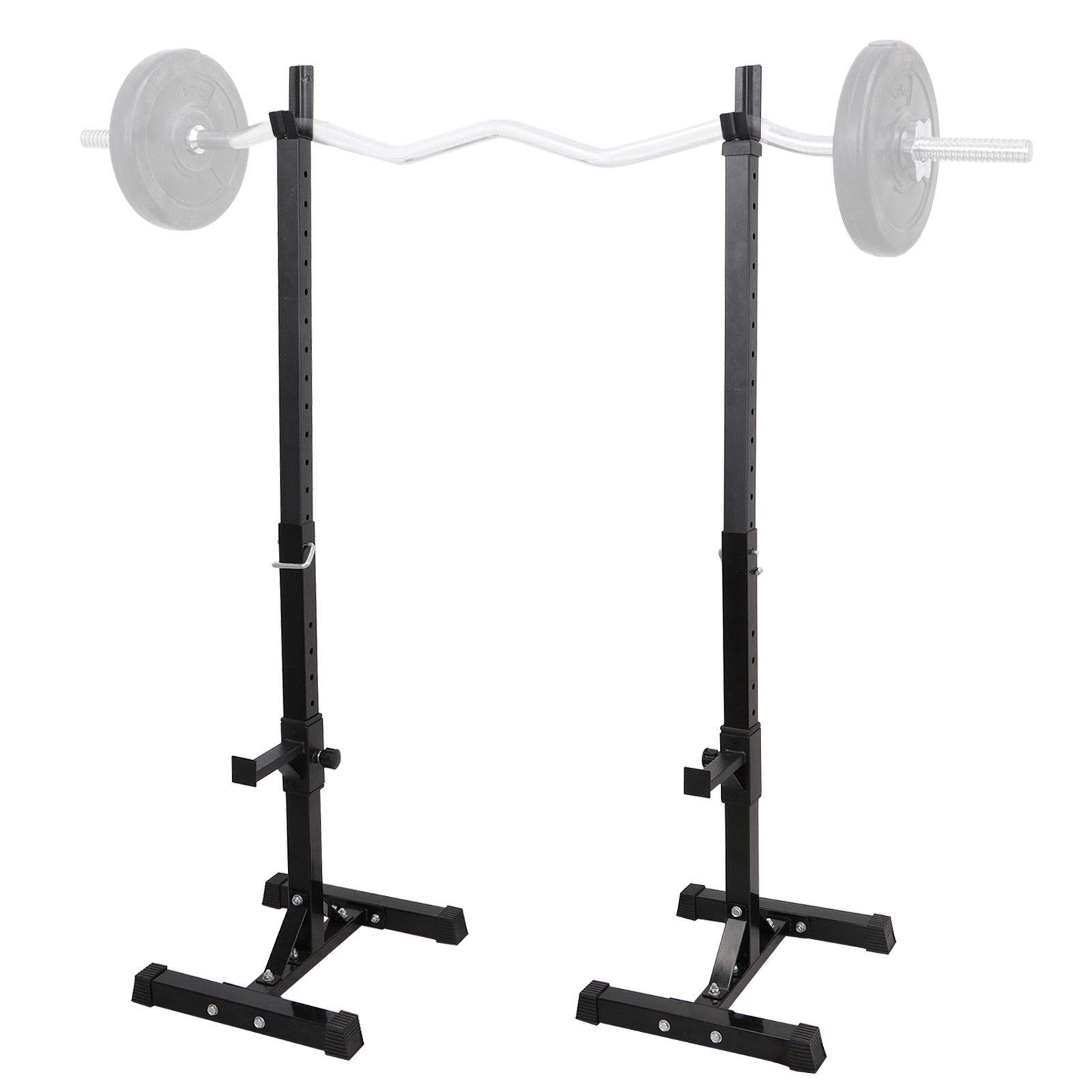 nitipezzo Sturdy Steel Provides The Maximum Safety for Your Home Exercise 1 Pair of Barbell Stands Adjustable Spotters for Your Safety with 13 Positions.