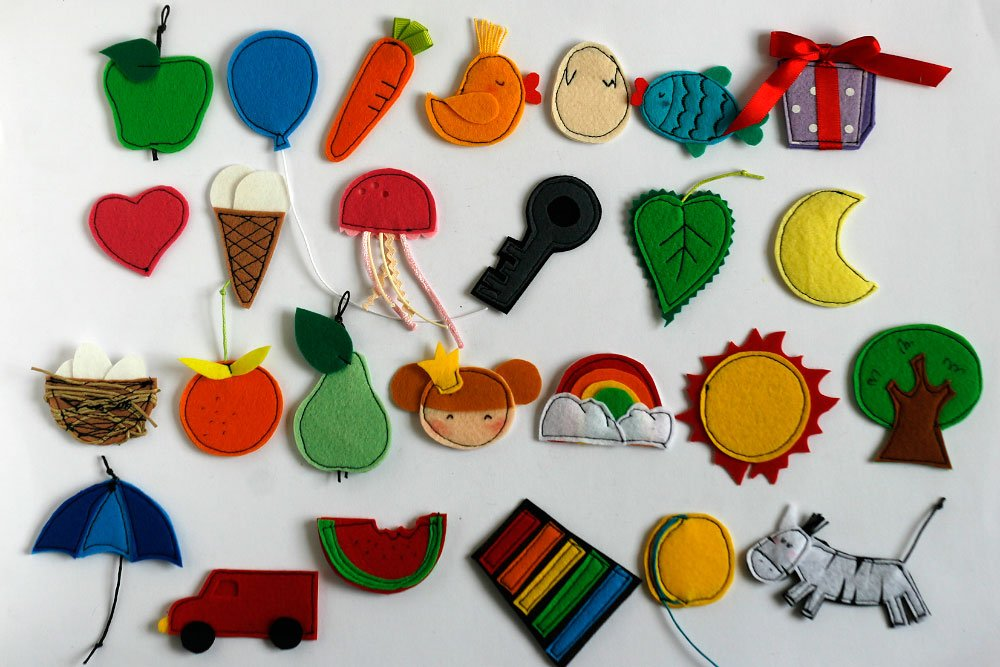 Felt Alphabet Letters and Objects, Learn alphabet material, Handmade by TomToy, 4-5cm Letters/Objects/ Letters+Objects