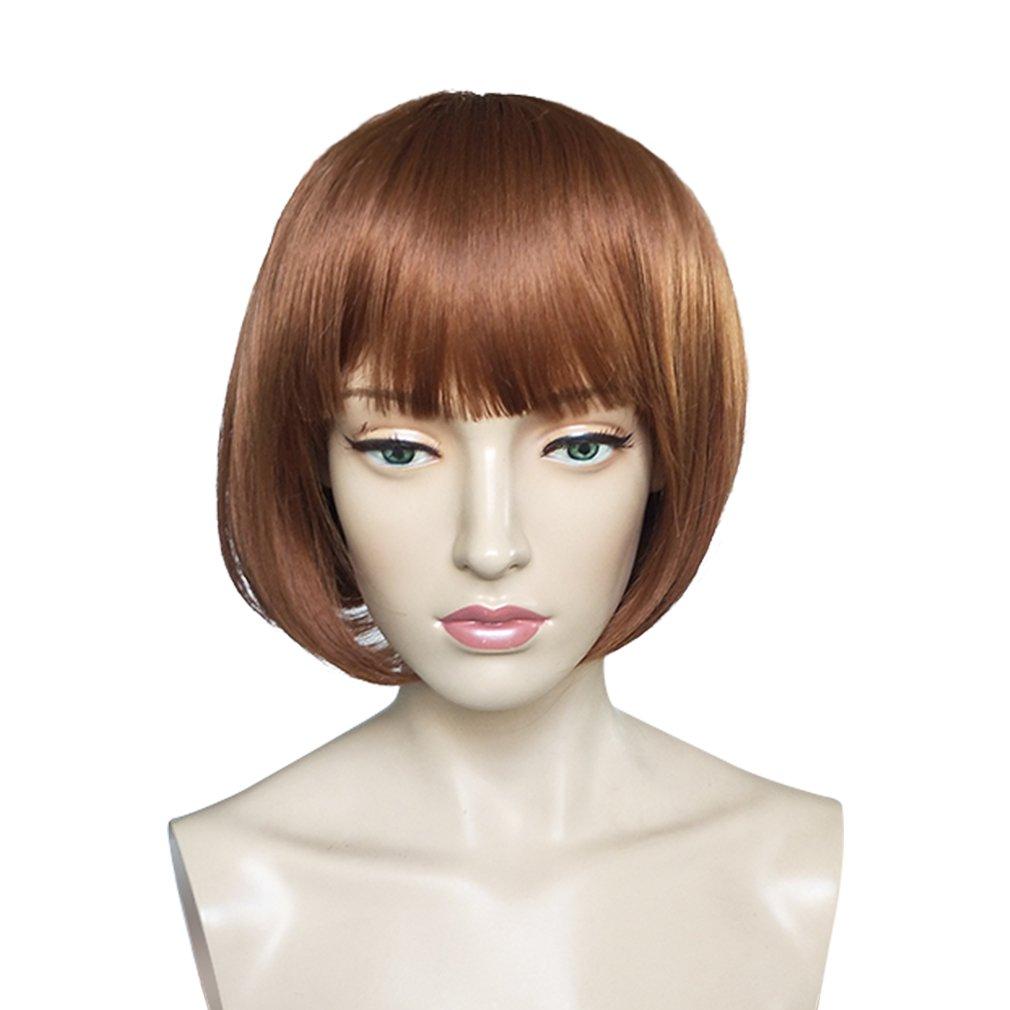 Namecute Chin Length BOB Wig Neat Bangs Heat Resistant Daily Used Short Auburn Wig + Free Wig Cap Mos
