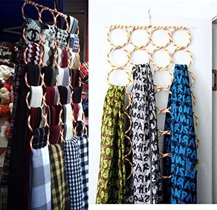 FABSELLER Soporte para Anillos y Cuerdas Chal Bufandas Color al Azar. Organizador de Almacenamiento Gancho Plegable para Bufandas
