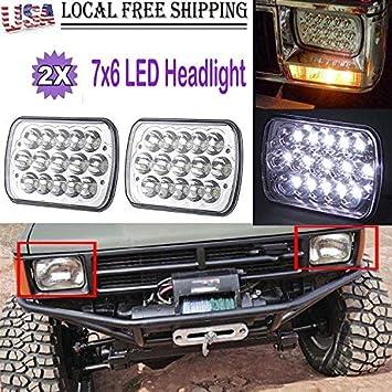 2pcs H6054 7x6 LED Headlight Sealed Beam Square Headlamp For Toyota Truck Pickup
