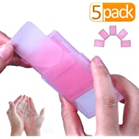 Outdoor Travel Hand Washing Soap Pape Sheets,Portable Camping Hand Soap,Hiking Washing Hand Bath Paper Soap for Kids,Camping,Tourism,Travel,BBQ,Party,School,Girls,etc.(5 Pack x 30 Sheets,Rose Scent)