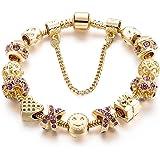 Gold Tone Bracelet Snake Chain Heart Smiley...
