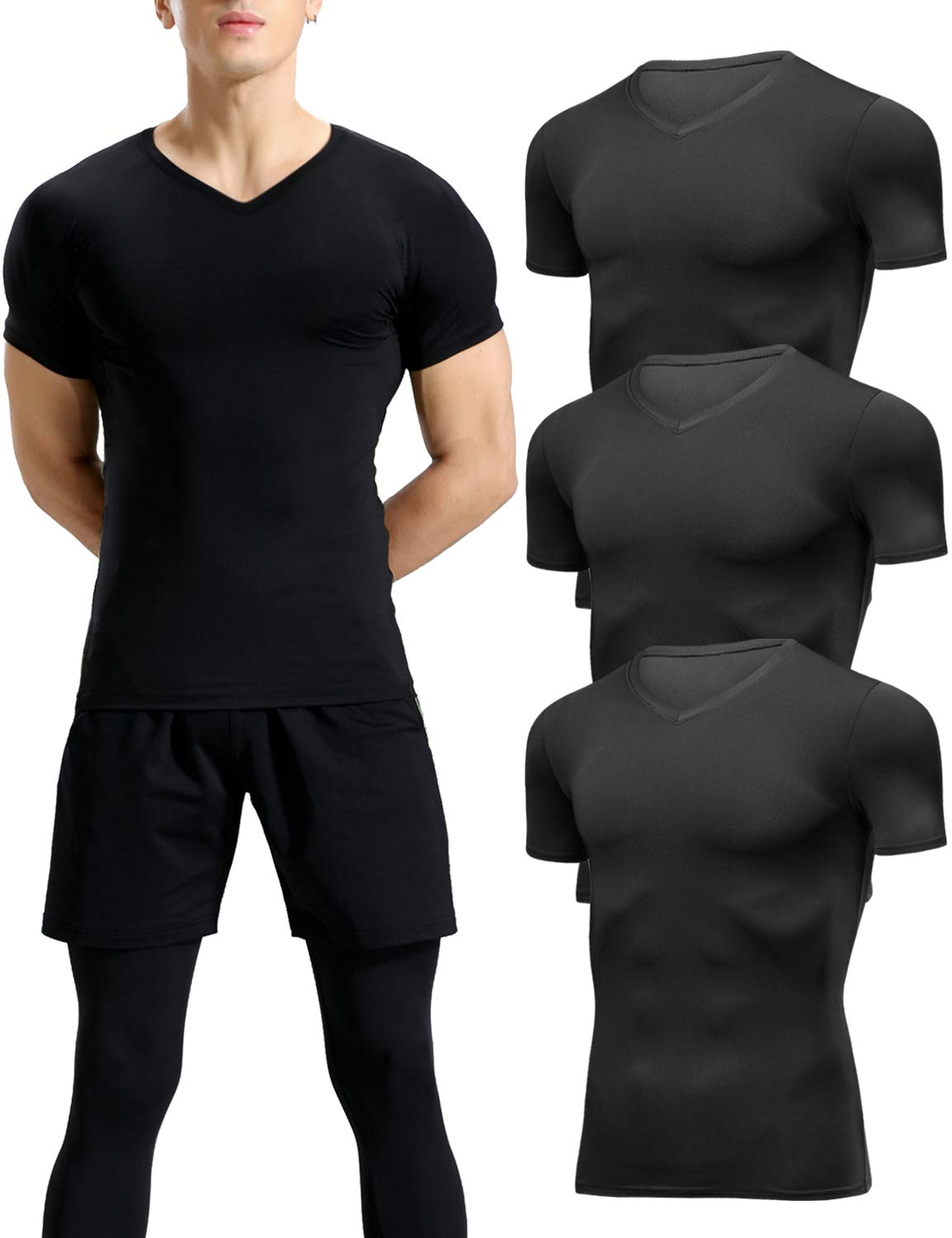 Lavento Men's Compression Shirts Cool Dry Short-Sleeve Workout Undershirts (3 Pack-V Neck Black,2X-Large) by Lavento