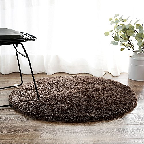 Non Slip Circular Mat (LEEVAN Contemporary Plush Area Rug Super-Soft Microfiber Non-slip Rubber Backing Shaggy Round Rugs Floor Mat Shag Rug (3 ft, Brown))