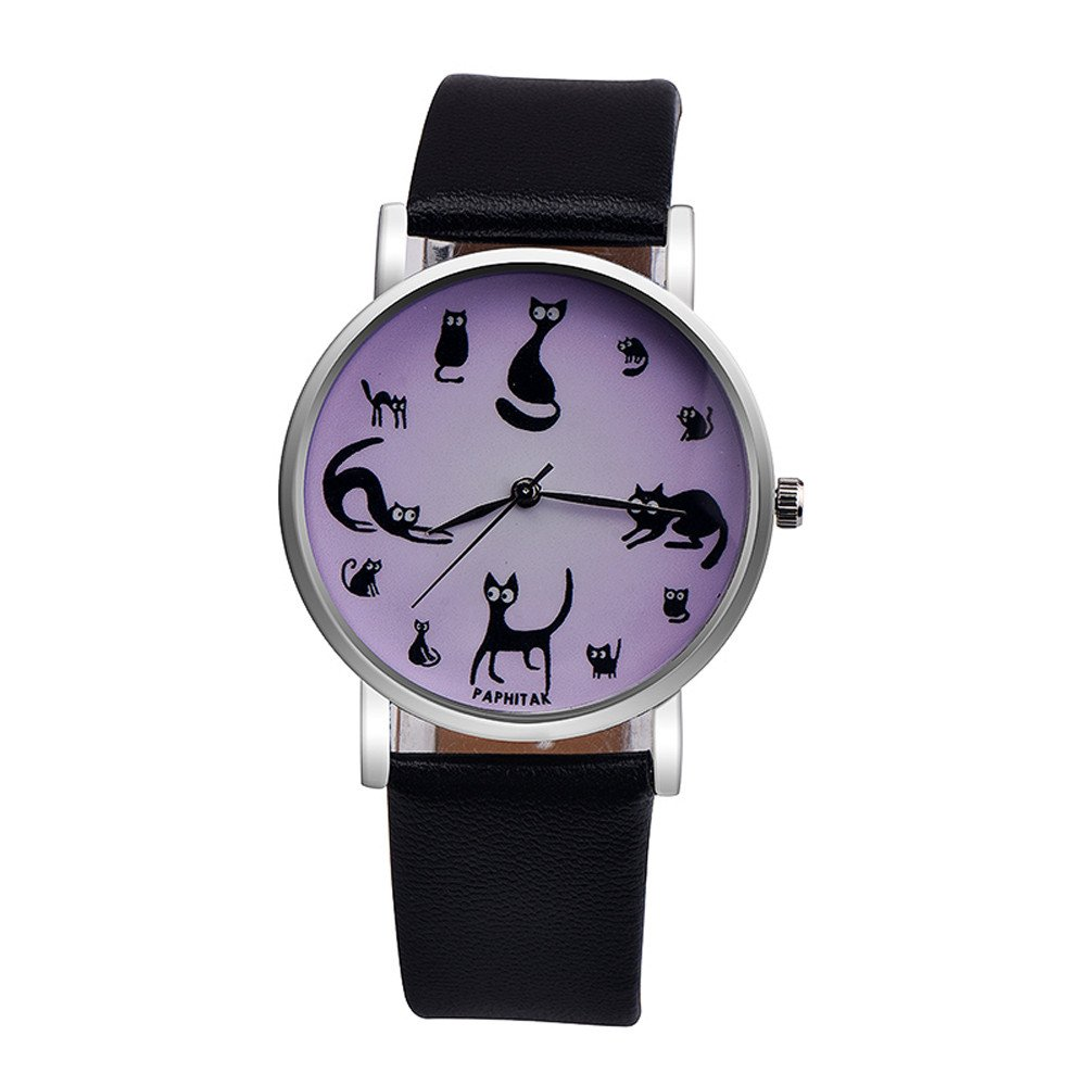 Zaidern Womens Cute Cat Watches Unique Analog Quartz Fashion Clearance Lady Watches Female Watches on Sale Casual Wrist Watches for Women Round Dial Case Comfortable PU Leather Watch