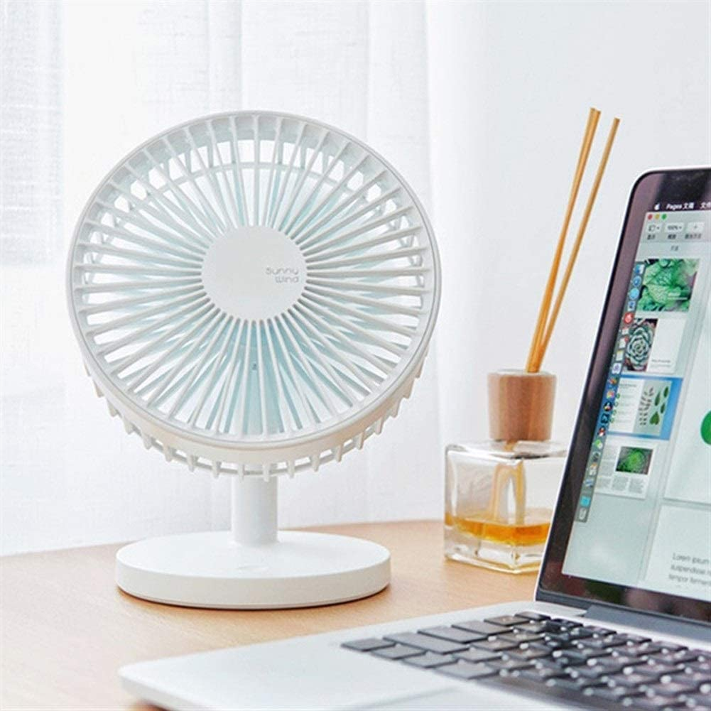 USB Rechargeable Ventilator Air Cooling Fan with Third Gear Wind for Home//Office USB Fan XIAOF-FEN Mini Fan Portable,Desk Table Fan Color : White