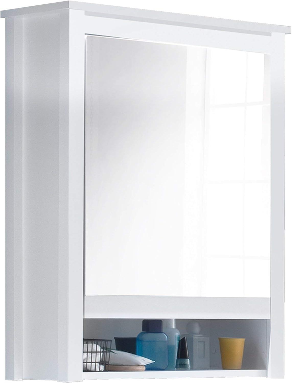 Trendteam Mueble Armario con espejo 1 puerta, Madera, Blanco, 62 x ...