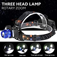 Willsa 5000Lm Super Power LED Headlamp Rechargeable Headlight 3x XML T6 Lamp 18650 Battery