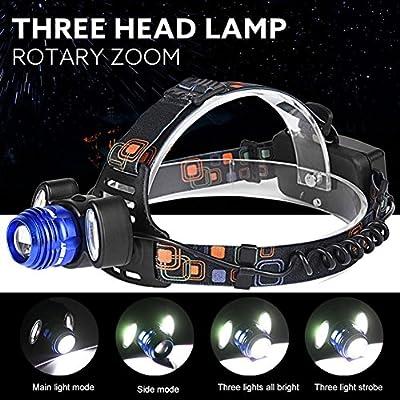 Willsa 5000Lm Super Power LED Headlamp Rechargeable Headlight 3x XML T6 Lamp 18650 Battery