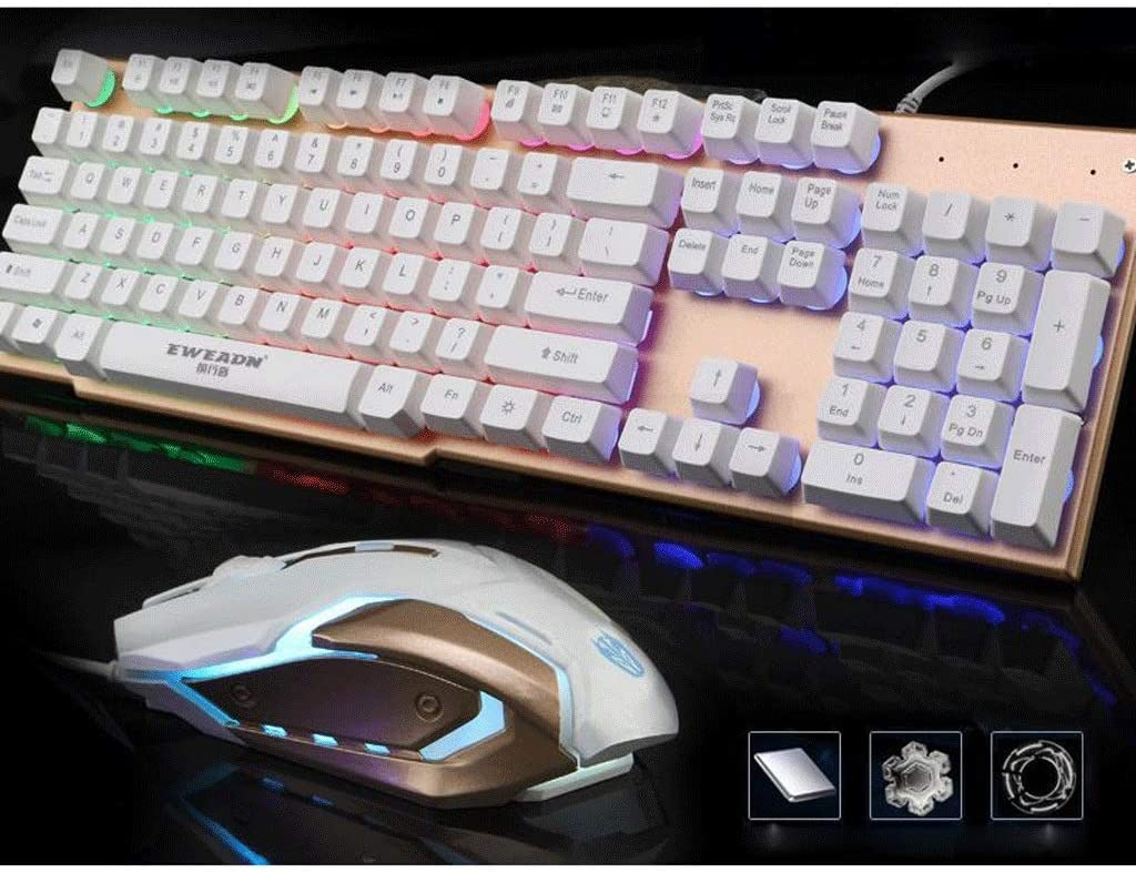 Mechanical Feel Gaming Keyboard and Mouse Combo Breathing LED Optical Mouse Metal Panel Color : Gray USB Wired Game Keyboard with Ergonomic Wrist Rest
