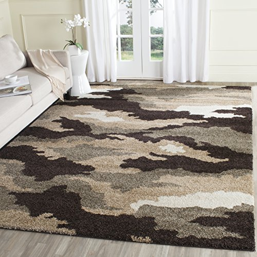 Safavieh Camouflage Shag Collection SG453-1391 Beige and Multi Area Rug (8'6