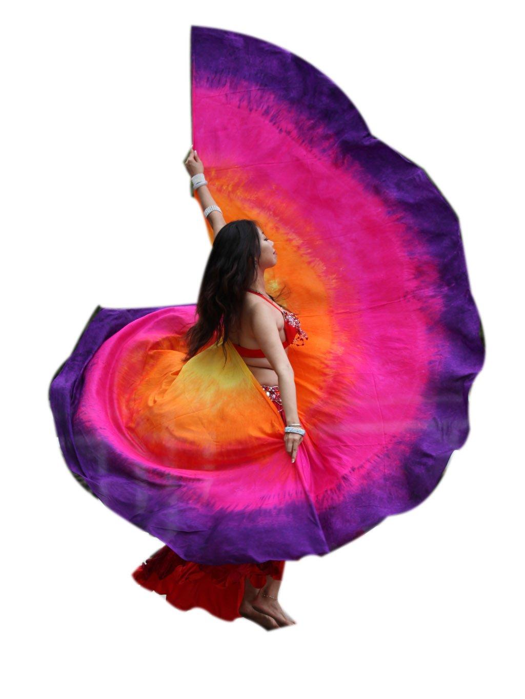 Winged Sirenny 1pair(2pcs Double Veils) 8mm Habotai Women's Belly Dance Silk Wing (yellow-orange-pink-purple)