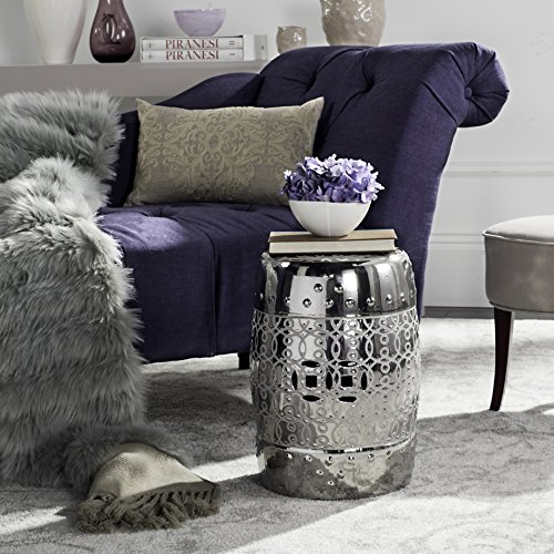 Safavieh Lantana Glazed Ceramic Decorative Garden Stool, Silver