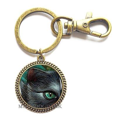 6a8e04a301 Amazon.com   Green Eye Cat Key Ring Keychain Cat Charm Women ...