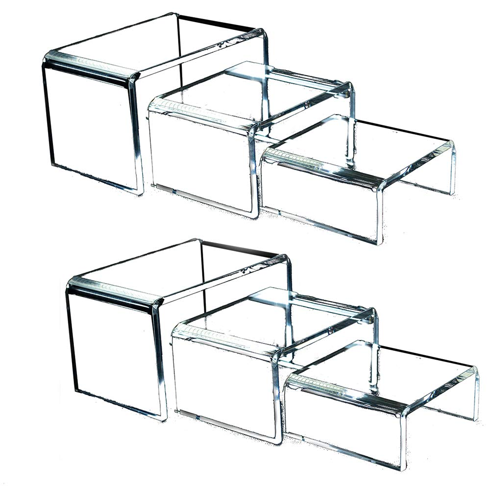 Clear Acrylic Risers for Display - 2 Sets of 3 Showcase Shelf for Figures, Buffets, Cupcakes and Jewelry Display Stands - Extra Thick and No Sticky Protective Film by Art of Acrylic