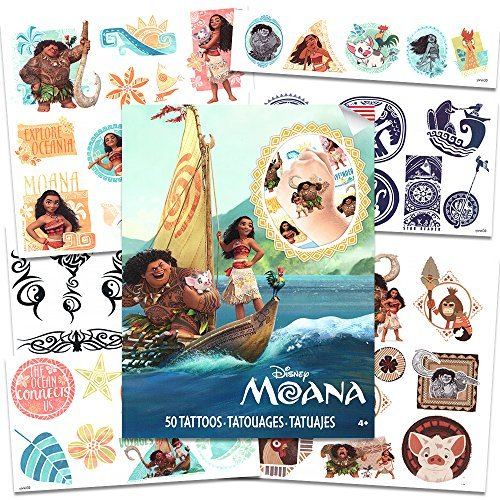 Disney Moana Tattoos - 50 Assorted Temporary Tattoos with Bonus Tribal Tattoos (Moana Party Supplies)