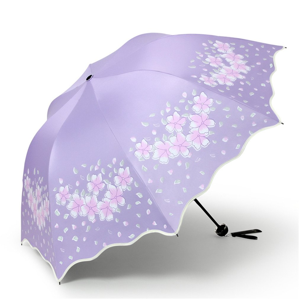 Guoke The Black Plastic Super Sunscreen Uv Protection Umbrellas With A Fine Of Two Umbrella Fold, Spend - Purple by Guoke (Image #1)