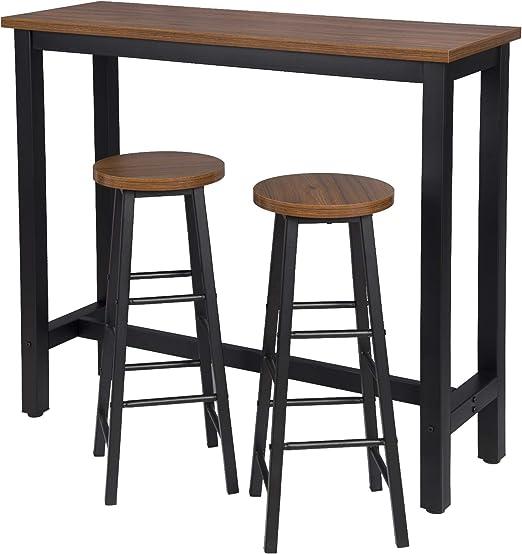 eSituro Juegos de Muebles Altas 1 Comedor Mesa y 2 Taburetes de ...