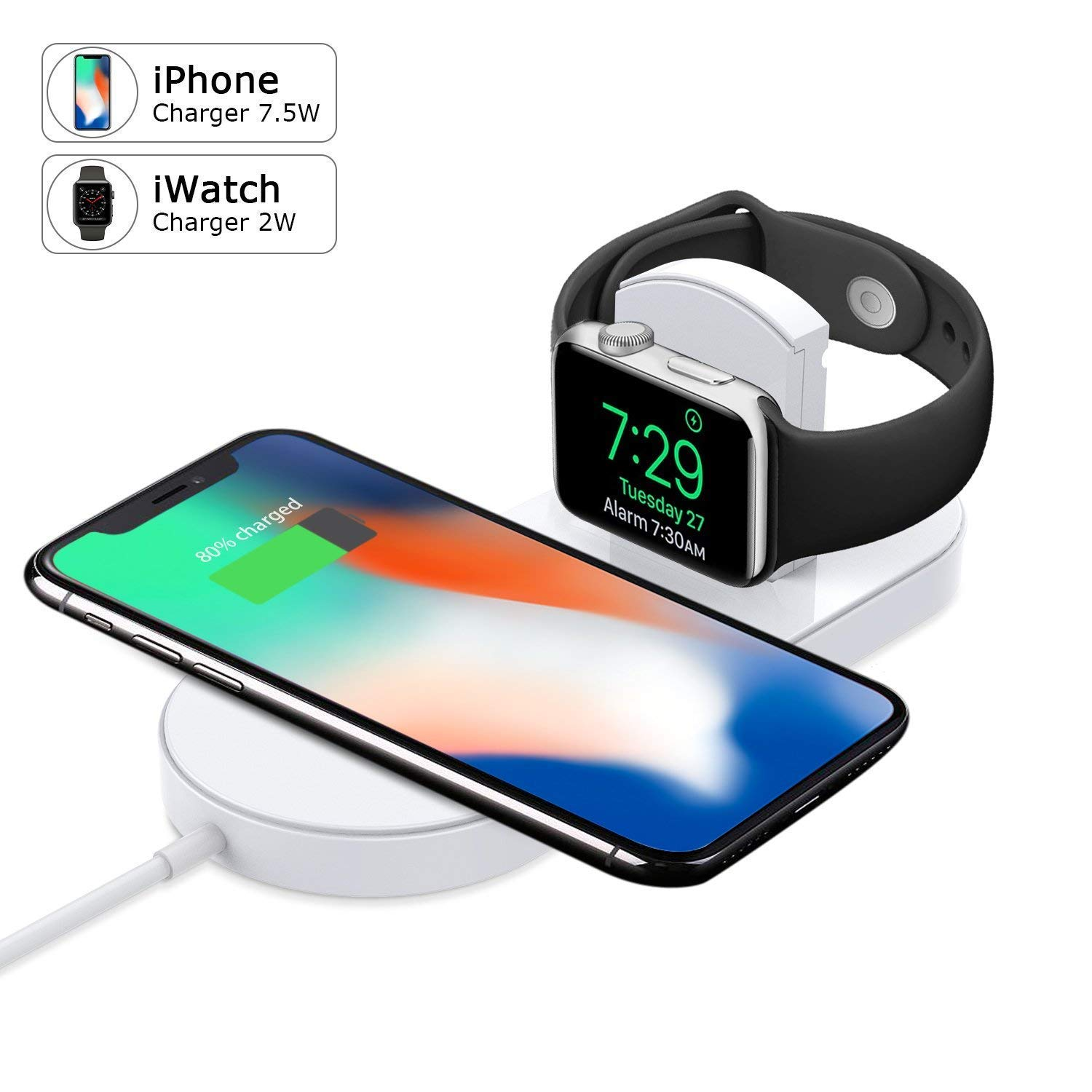 Wireless Charger,KUPPET Magnetic Wireless Charger 2-in-1 Pad Stand Cable Compatible with Apple Watch,for iPhone X/8/8 Plus,Compatible with iWatch Series 1/2/3,38mm 42mm,Samsung S8 Series,Note 8