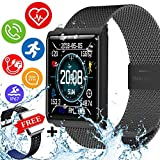 Kidaily IP68 Waterproof Sport Fitness Tracker – Smart Watch Men Women Heart Rate Blood Pressure Sleep Monitor Calorie Pedometer Smart Bracelet Outdoor Swim Run Tracker (1 - Sport Watch)