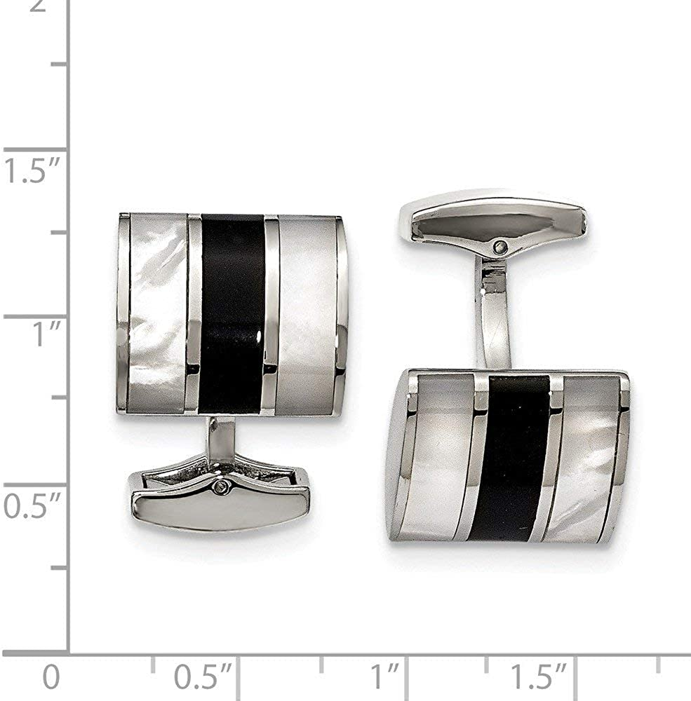 JewelryWeb Stainless Steel Polished Black Semi-Precious Stone and Simulated Mother of Pearl Cuff Links