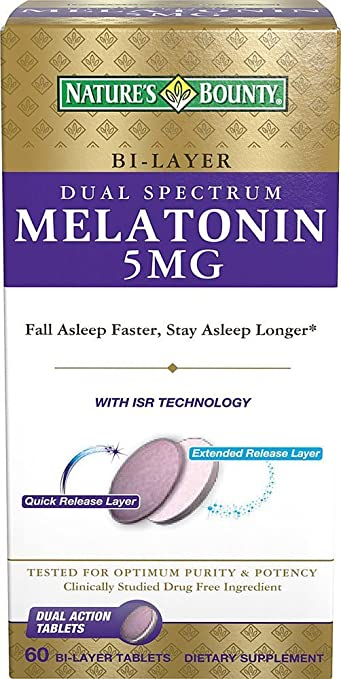 Amazon.com : Natures Bounty Dual Spectrum Bi-Layer Melatonin Tablets, 5mg, 60 CT (PACK OF 2) : Beauty