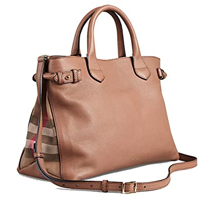 eea51bb24e13 Amazon.com  Tote Bag Handbag Authentic Burberry Medium Banner in Leather  and House Check Dark Sand Item 39589811  Shoes