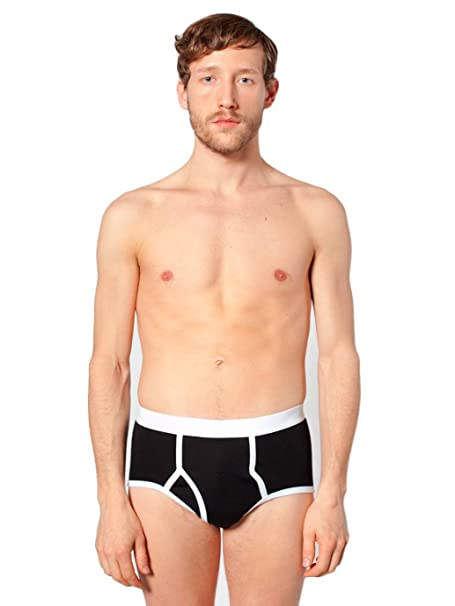 American Apparel Men Baby Rib Brief Size S Black / White at Amazon Men's  Clothing store: Briefs Underwear