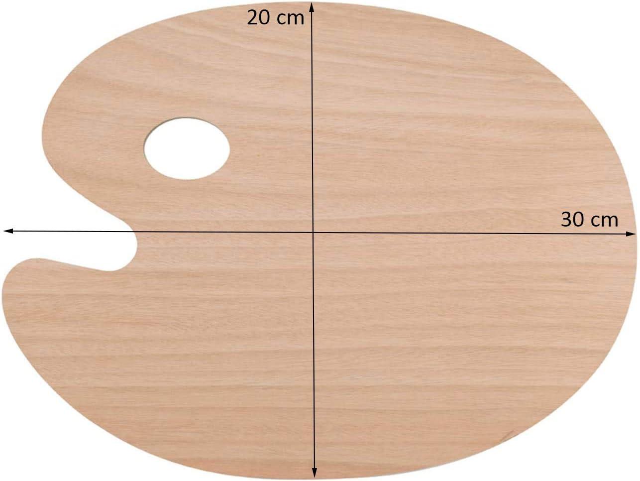 Malpalette Holz oval Farbwanne f/ür Maler Handwerk glatt Daumenloch