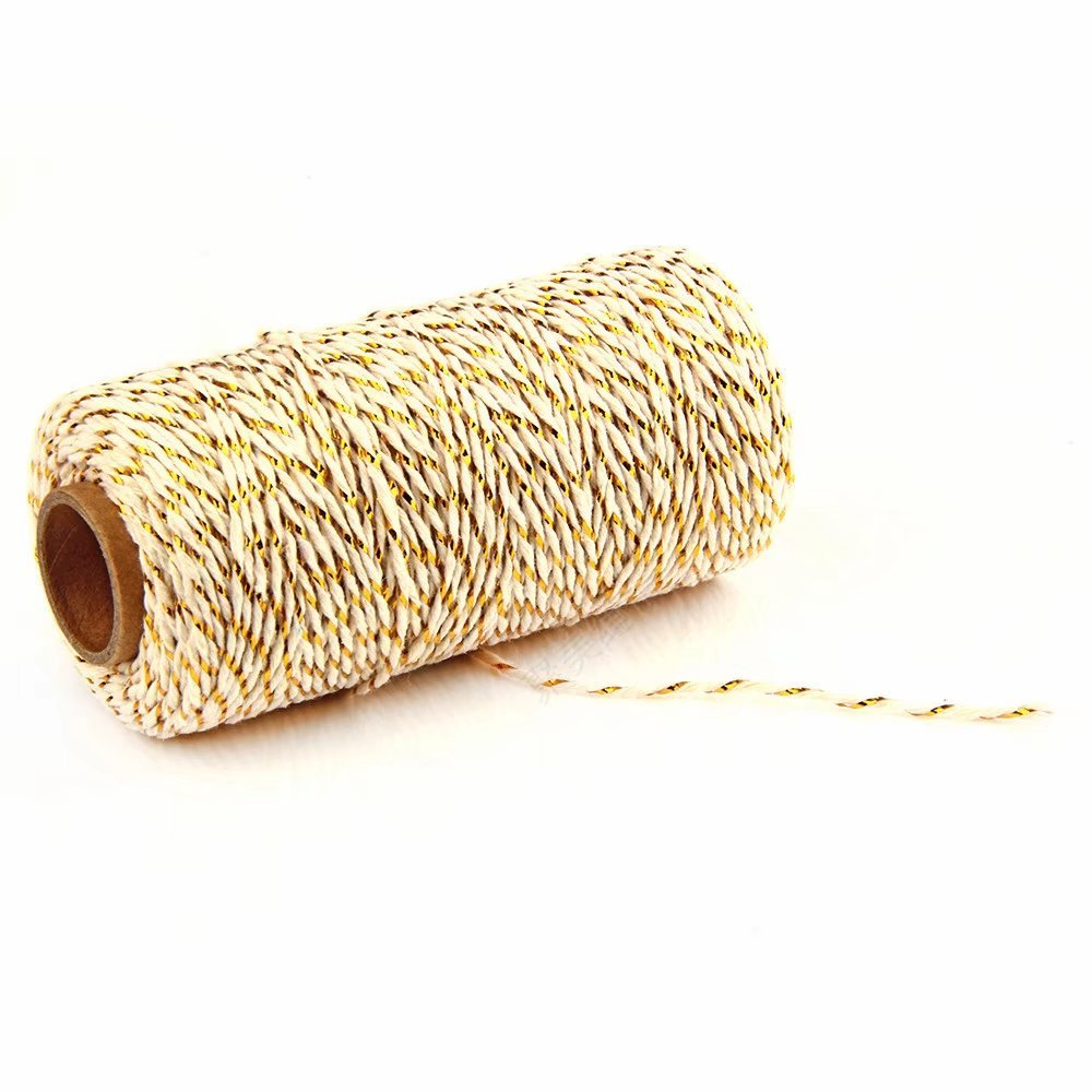100M Wrap Gift Cotton Rope Ribbon Twine Rope Cord String Black & White RICISUNG