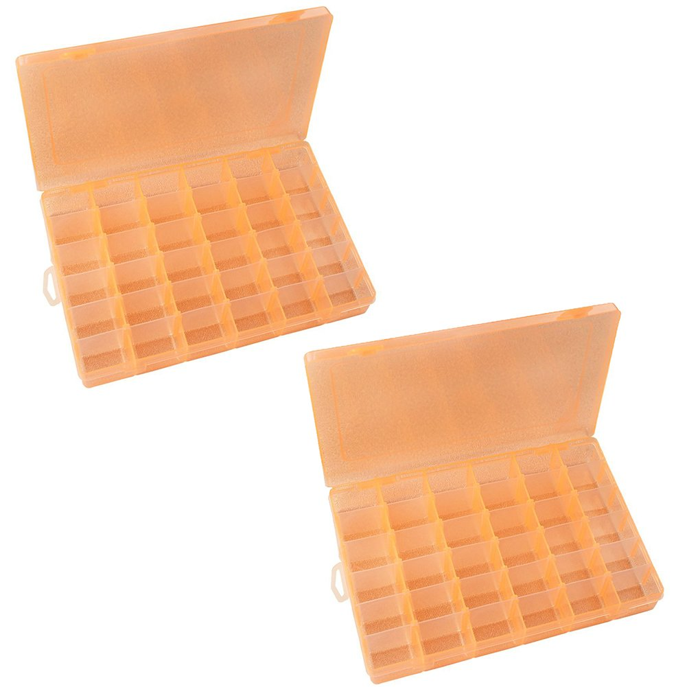 Magik 36 Grid Box Storage Organizer Case Container Display Collection with Adjustable Divider Big (2 Pack, Orange)