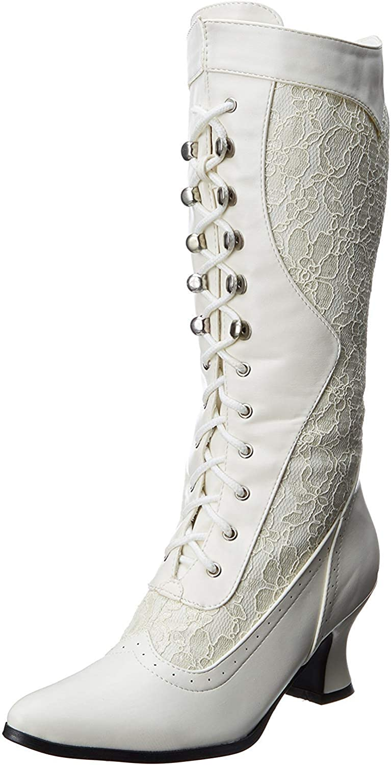 Women's 253-Rebecca Victorian Boots - Witch Costume Shoes, White
