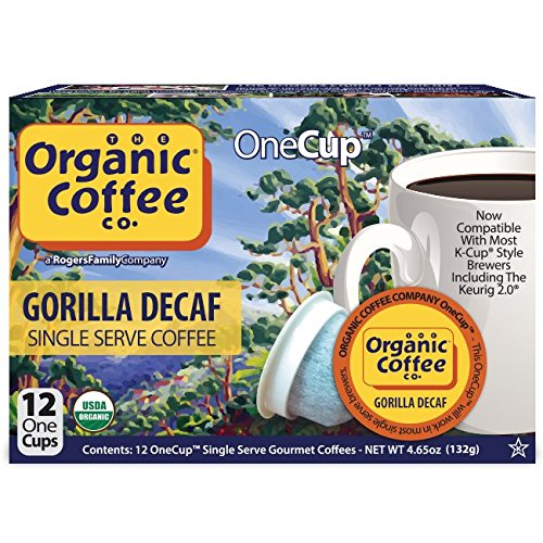 The Organic Coffee Co. OneCup, Gorilla DECAF, 12 Quantify- Single Serve Coffee, Compatible with Keurig K-cup Brewers, USDA Organic