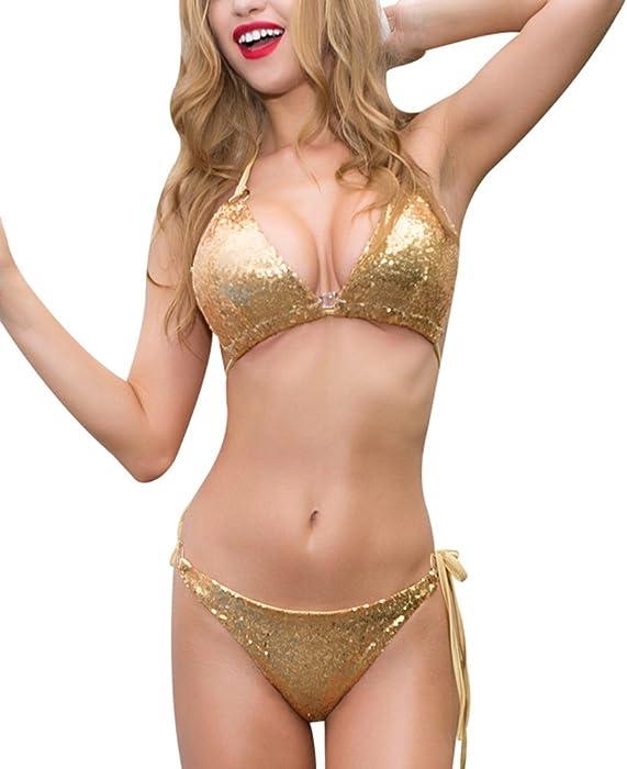 412523b4ee Women Sparkle Glitter Swimwear Sequin Bikini Shiny String Bra Sexy Swimsuit  Beach Wear