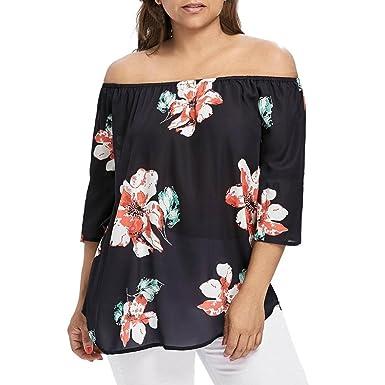 b59cc279d928c Kobay Womens Off-Shoulder Print T-Shirts Tops