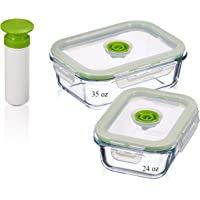 Lasting Freshness Vacuum Seal Food Storage Containers - Deep Freezer Food Storage Sealer - Hand Held Vacuum Food System - Small - Rectangle - 5Pc - Green