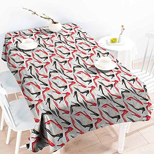 (EwaskyOnline Large Rectangular Tablecloth,Red and Black Women Fashion Pattern with High Heel Stiletto Shoes Ladies Footwear,Party Decorations Table Cover Cloth,W60X90L, Scarlet Black Beige)